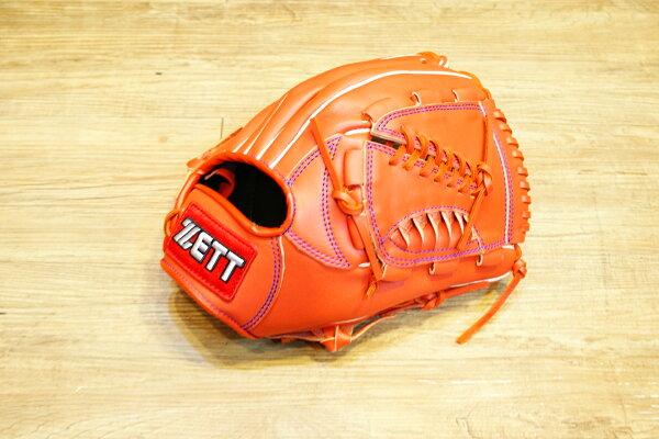 棒球世界 全新ZETT棒壘球投手牛皮手套 橘色 特價 加送手套袋 8701系列