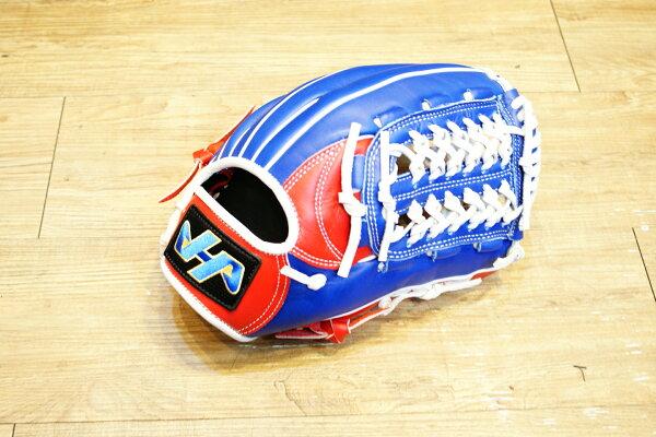 棒球世界全新 HATAKEYAMA HA 紅白藍配色 棒壘手套 內野網狀 特價