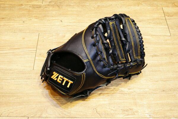 棒球世界 ZETT金標棒球一壘手套 特價 黑色款