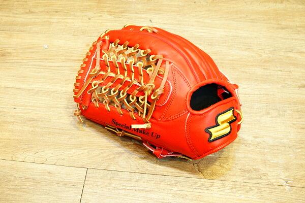 棒球世界全新SSK金標全牛皮棒壘球手套 外野T網狀 特價 紅色 反手用