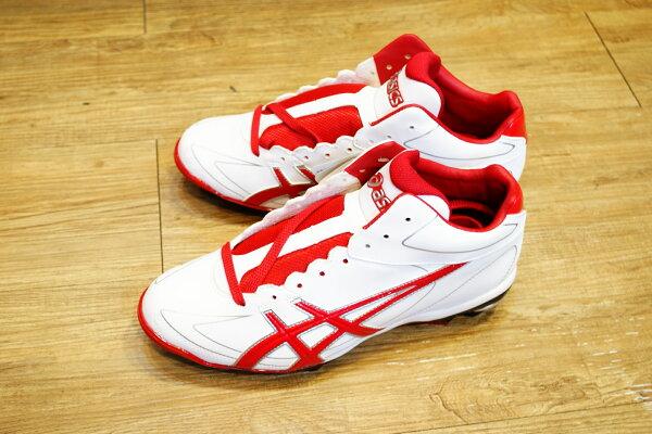 棒球世界全新 ASICS輕量化~高筒棒壘膠釘鞋 特價 白紅配色