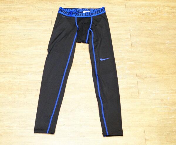 棒球世界 全新 NIKE PRO COMBAT 黑藍配色長緊身褲 特價