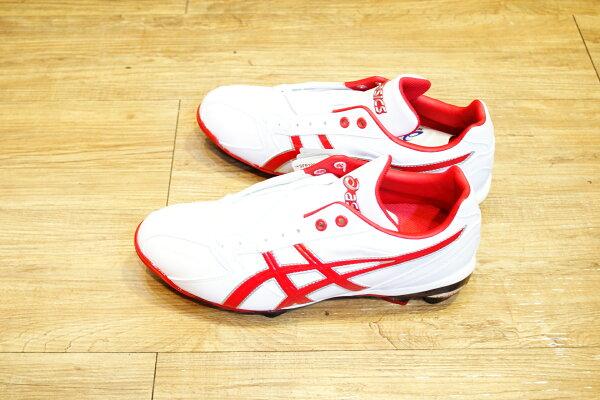 棒球世界 全新ASICS 輕量化 棒.壘球膠釘鞋 SFP100-0150 特價 白紅配色