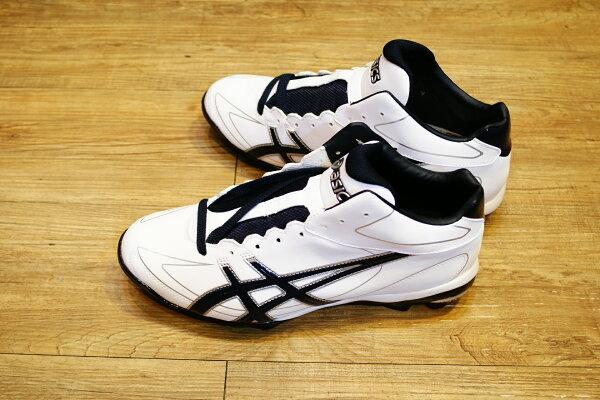 棒球世界全新 ASICS輕量化~高筒棒壘膠釘鞋 特價 白藍配色