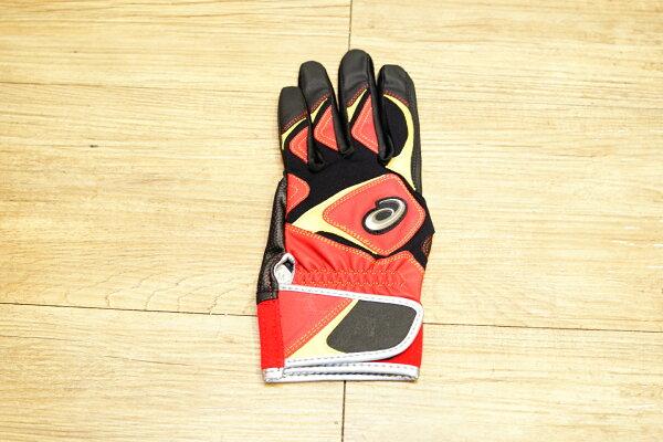 棒球世界 全新asics 亞瑟士可水洗打擊手套一支入 特價 紅黑配色