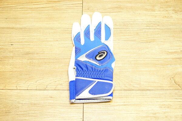 棒球世界 全新asics 亞瑟士可水洗打擊手套一支入 特價 藍白配色