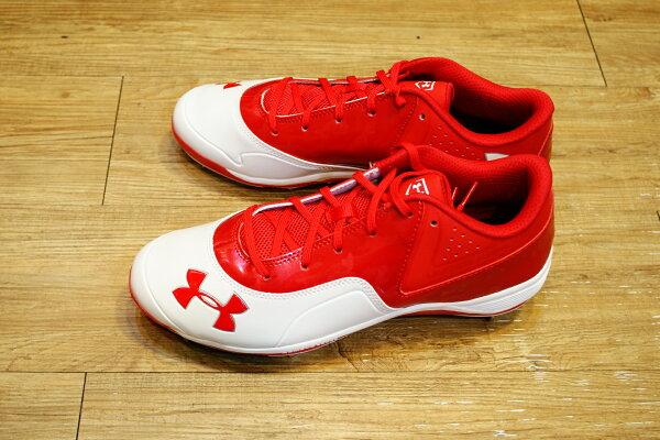 棒球世界 全新UNDER ARMOUR Ignite低筒棒球釘鞋 紅白色款 特價