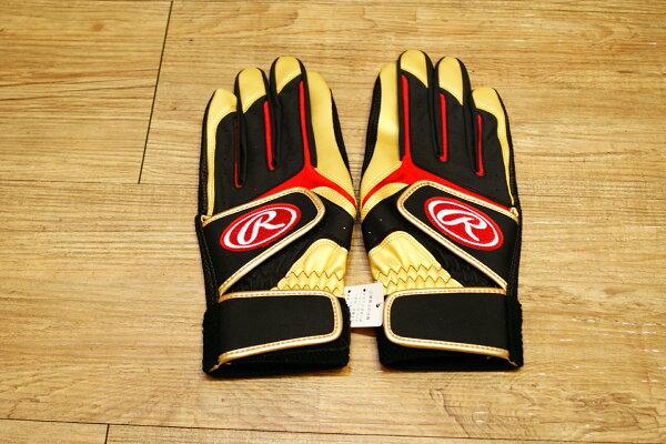 棒球世界全新日本進口Rawlings 棒壘球用打擊手套手套 黑金配色 可水洗