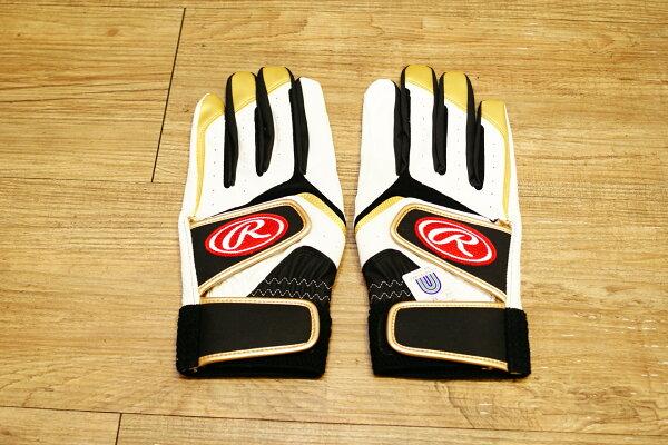 棒球世界全新日本進口Rawlings 棒壘球用打擊手套手套 白黑配色 可水洗