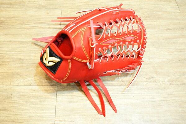 棒球世界 全新日本品牌Glom棒壘球手套 美國小牛皮 店家訂製款 特價 外野 血紅色 /