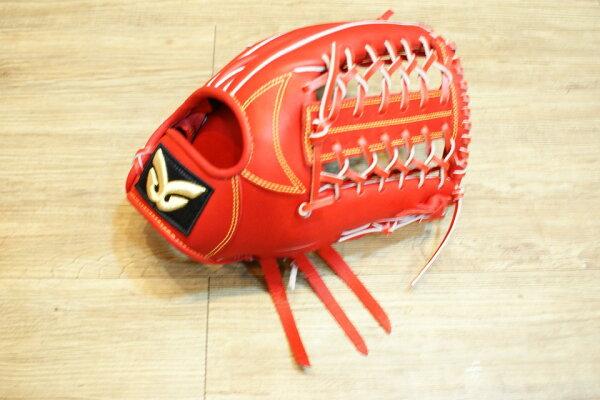 棒球世界 全新日本品牌Glom棒壘球手套 美國小牛皮 店家訂製款 特價 外野 血紅色 /12.5吋