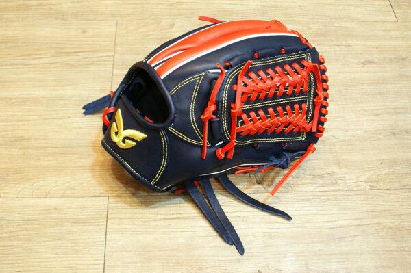 棒球世界 全新日本品牌Glom棒壘球手套 美國小牛皮 店家訂製款 特價 深藍紅配色