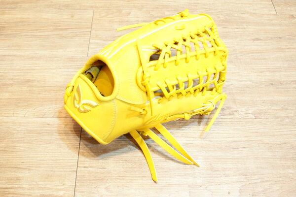 棒球世界 全新日本品牌Glom棒壘球手套 美國小牛皮 店家訂製款 特價 外野 檸檬黃