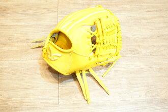 棒球世界 全新日本品牌Glom棒球手套 美國小牛皮 店家訂製款 特價 單片檔 檸檬黃色