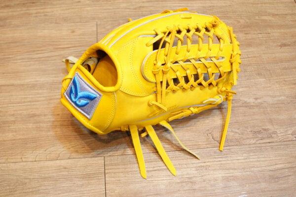 棒球世界 全新日本品牌Glom棒壘球手套 美國小牛皮 店家訂製款 特價 外野原皮色 水藍標