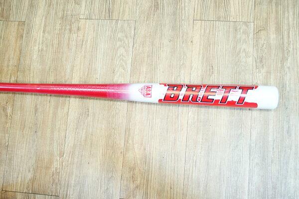 棒球世界 全新BRETT征服者平衡型楓木壘球棒(玻纖包覆) 特價 紅色款