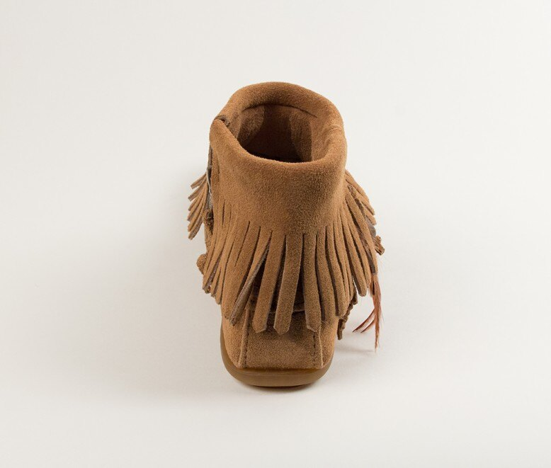 【Minnetonka 莫卡辛】土?色 - 麂皮流蘇羽毛踝靴 5