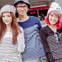 長袖T恤   T-Shirt   情侶T恤   MIT台灣製   牛仔皮口袋線拼色長T【M4210】艾咪E舖  純純