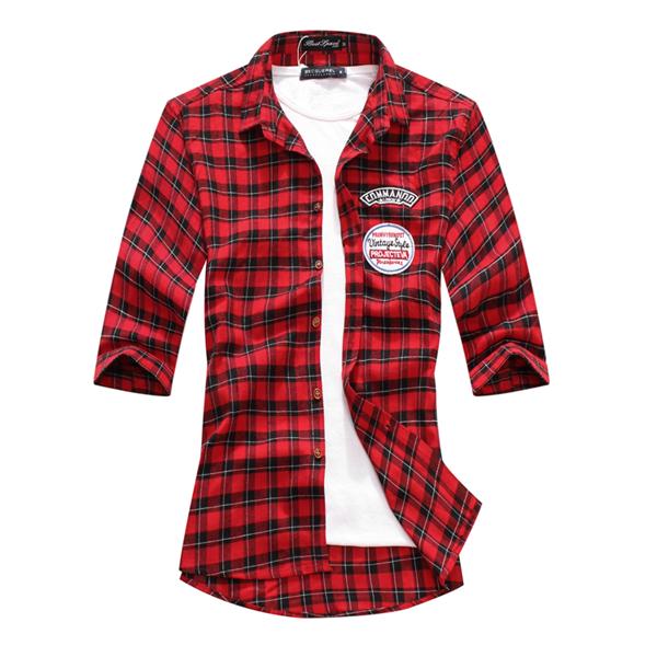 襯衫.短袖襯衫.素雅造型.格紋貼標短袖襯衫【JK3797】個人風格.艾咪E舖 1