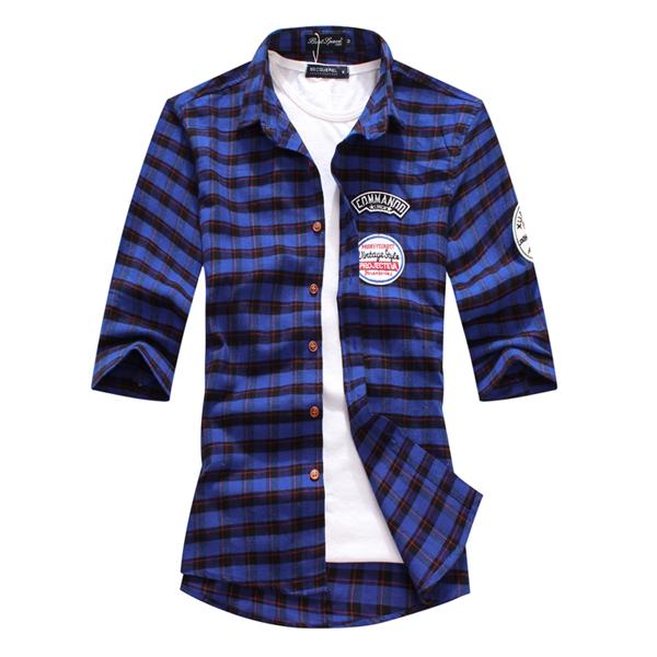 襯衫.短袖襯衫.素雅造型.格紋貼標短袖襯衫【JK3797】個人風格.艾咪E舖 2