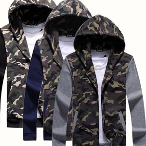 外套  情侶外套  保暖外套 潮流外套  迷彩拼接雙色連帽外套【M30082】艾咪E舖