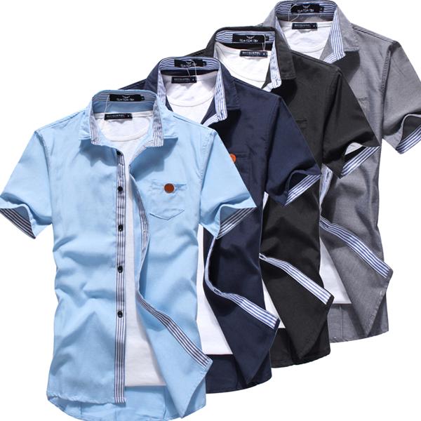紳士風.襯衫. 襯衫.情侶裝.皮標拼接短袖襯衫~M55576~艾咪E舖 ~  好康折扣
