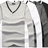 T shirt 情侶裝 長袖T恤 韓系V字雙色領長T 情侶T恤 班服 TSHIRT 100%純棉【J5612】艾咪E舖 0