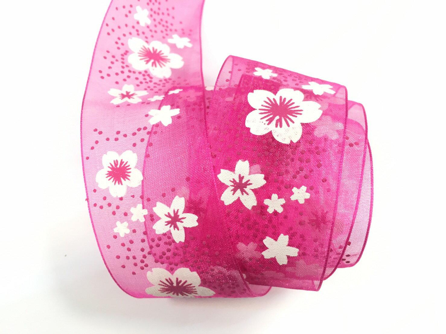 【Crystal Rose緞帶專賣店】小花朵朵網紗緞帶 38mm 3碼裝 0