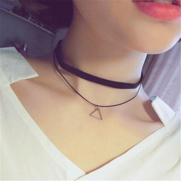PS Mall 超美極簡風復古幾何三角墜 簡約雙層脖圈項圈 頸鏈鎖骨鏈 項鍊~G1954~
