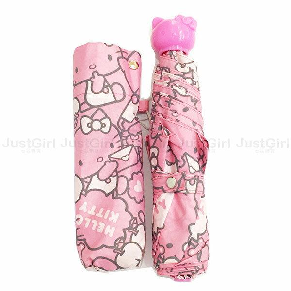 HELLO KITTY 雨傘 三折傘 摺疊傘 隨身傘 輕量型 滿版吃蘋果 居家   ^~