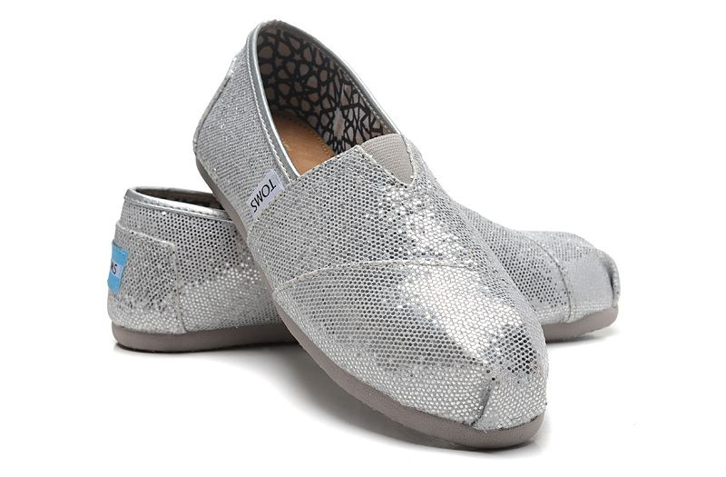 【TOMS】經典亮片款平底休閒鞋(銀色)  Sliver Glitter Women's Classics 0