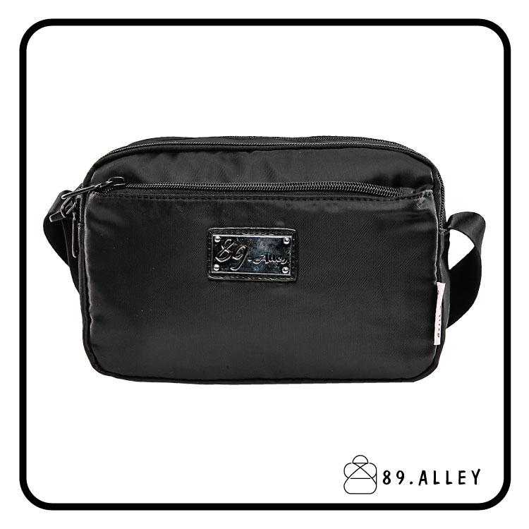側背包 女包男包 黑色系防水包 輕量尼龍鐵牌雙層情侶斜背包 89.Alley 0