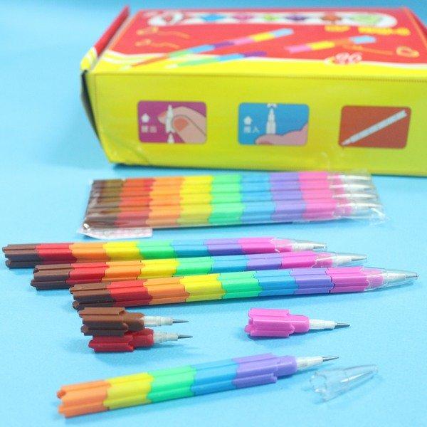 積木鉛筆 智力積木筆 SF-2707-8 免削鉛筆 積木子彈鉛筆/{促20}一小袋4支入(一支8節)