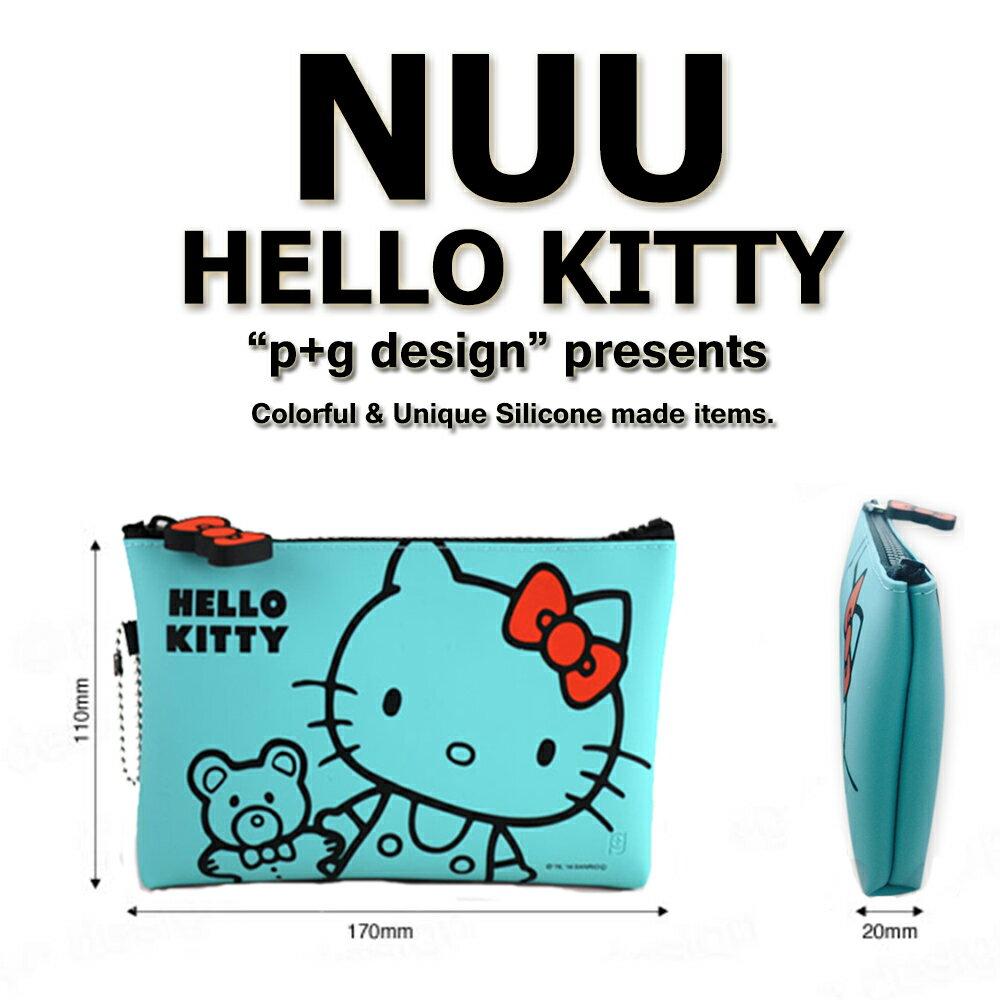 日本進口 p+g design NUU X HELLO KITTY 繽紛矽膠拉鍊零錢包 - 粉紫灰綠白5色可選 1