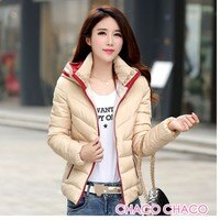 保暖服飾推薦【CHACO CHACO】韓系 時尚撞色3D修身羽絨棉保暖外套(3色)