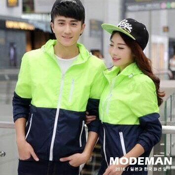【MODE MAN】《特價$299》日韓拉鍊素面配色拼接連帽休閒風衣外套 六色