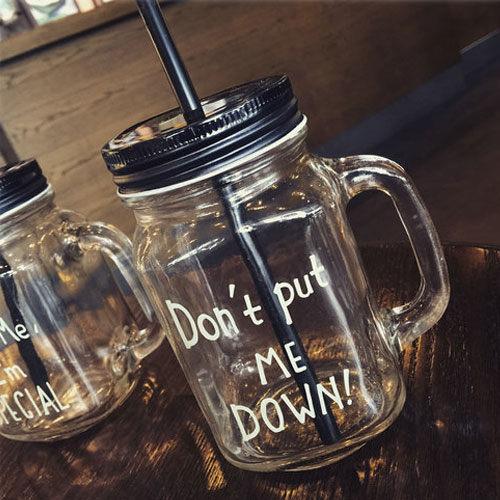 PS Mall 韓日英文字母個性玻璃梅森杯 隨身杯 檸檬杯 情侶水杯 冷水壺 對杯 【J1678】
