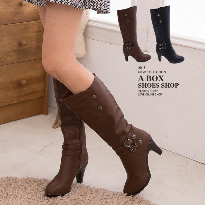 格子舖*【KS3372】日韓潮流 雙金屬扣飾拉環內拉鍊高質感高跟馬汀長靴 機車靴 2色 0