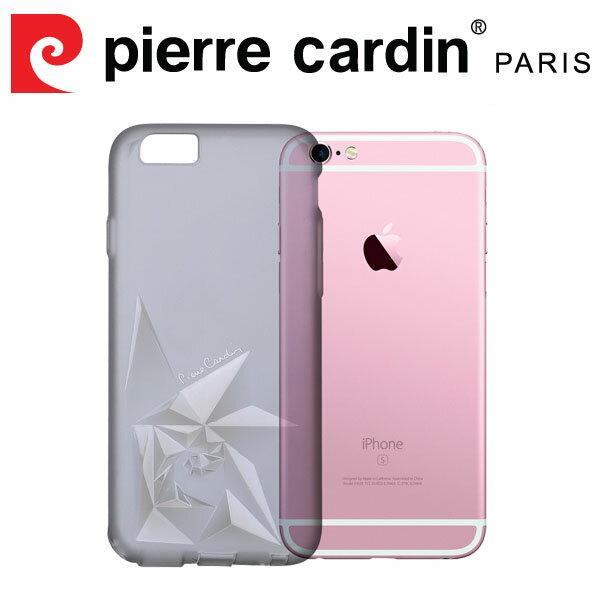 [ iPhone6/6s ] Pierre Cardin法國皮爾卡登3D立體玫瑰TPU透明手機殼 透黑色