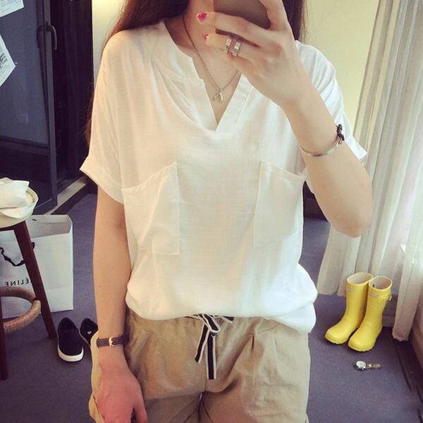 PS Mall 寬鬆V領大口袋百搭T恤 短袖上衣~T585~ ~  好康折扣