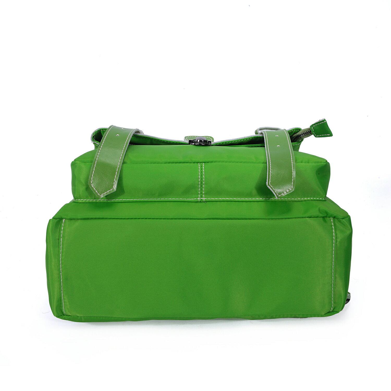 BEIBAOBAO夏季旅行防水布配真皮兩用後揹包(橄欖綠) 6