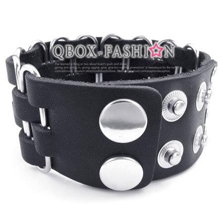 《 QBOX 》FASHION 飾品【W10023344】精緻個性編織紋路合金扣頭皮革手鍊/手環(黑色)