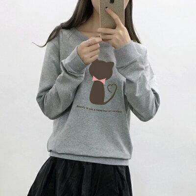 ◆快速出貨◆刷毛T恤 圓領刷毛 情侶T恤 暖暖刷毛 MIT台灣製.圓領-灰貓 剪影【YS0098】可單買.艾咪E舖 1