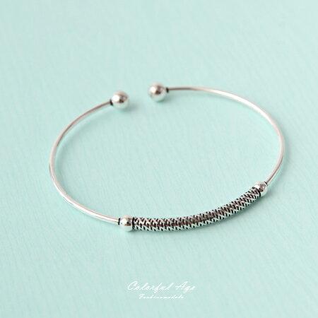 925純銀手鍊 C型開口精緻雕紋 手環 配戴超Easy 混搭或單戴皆可 柒彩年代~NPA4