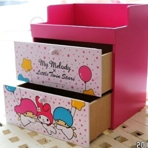 美麗大街【104100817】HELLO KITTY 雙抽屜桌面置物櫃 收納箱 收納盒