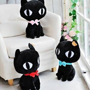 美麗大街【S101062721】蝴蝶結大眼黑貓咪12吋玩偶