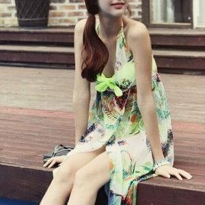 美麗大街【SW016】雪紡花紋繞脖綁帶露背比基尼外罩連身洋裝(不含比基尼)