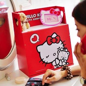 美麗大街【103030617】Hello Kitty塗鴉紅色方形化妝櫃/置物盒
