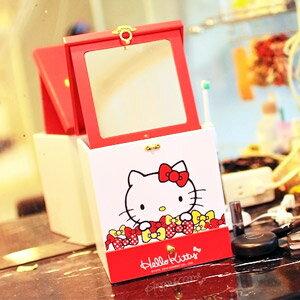 美麗大街【103051023】Hello Kitty繽紛蝴蝶結可收式摺疊鏡面手提單抽三格木製收納櫃 置物櫃 桌上收納盒