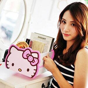 美麗大街【103080510】Hello Kitty凱蒂貓大頭造型可提式書本小物桌面木製收納盒